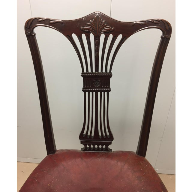 Mahogany Side Chair with Red Leather Seat. 20th C., USA