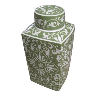 Asian Modern Montego Hand Painted Green Ceramic Canister For Sale