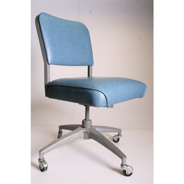 Mid Century Modern Blue Vinyl Swivel Office Chair - Image 2 of 11