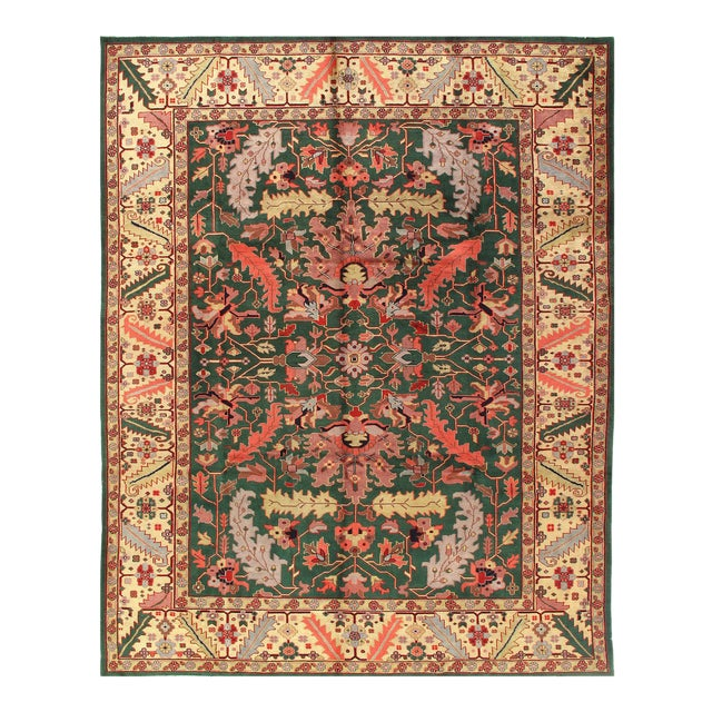 Pasargad Green Fine Sultanabad Rug-9' X 12' For Sale