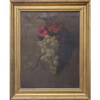 """American School Still Life of Grape Clusters Signed """"Vjw""""- Dated 1886 For Sale"""