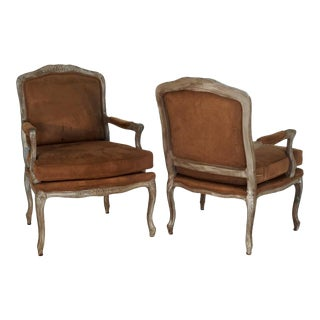 Ralph Lauren Silver Fauteuils Chairs With Brown Suede - a Pair For Sale
