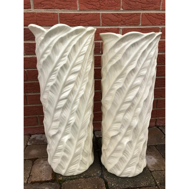 Vintage Tropical Leaf Design Tall White Ceramic Floor Vases - a Pair For Sale - Image 4 of 9