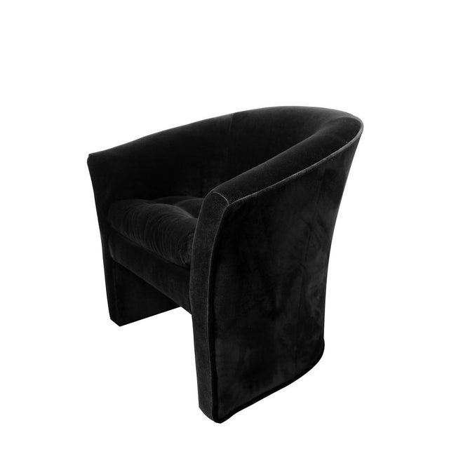 Art Deco Mid-Century Modern Black Velvet Tub Barrel Chairs - a Pair For Sale - Image 3 of 9