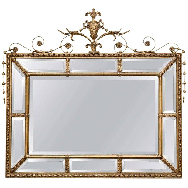 Adams Style Beveled Mirror in Finely Carved Frame For Sale