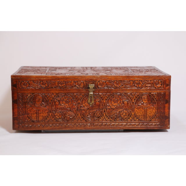 Early 19th century fine antique Anglo-Indian carved sandalwood wooden box. Incredibly intricate, highly detailed and...
