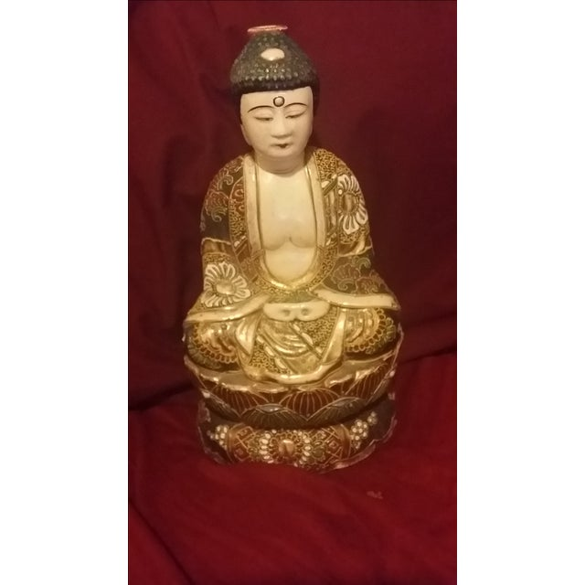 Vintage Hand Painted Gold Gilt Porcelain Buddha - Image 3 of 8
