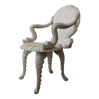 Hand Carved Venetian Grotto Style Chair For Sale