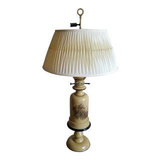 Vintage Warren Kessler Bouillotte Metal Tole Table Lamp W/Shade Yellow For Sale