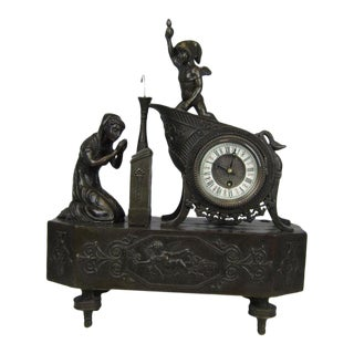 French Mantle Clock of Maiden and Cupid Bronze Sculpture For Sale