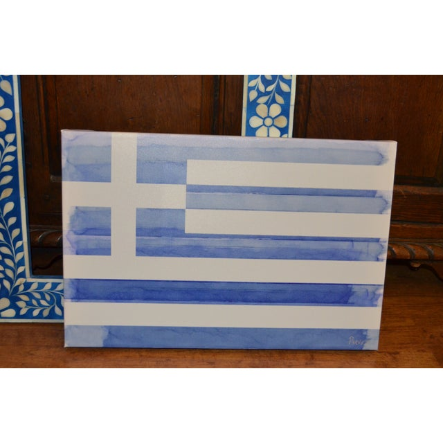 Parvez Taj Greek Flag Painting - Image 6 of 6
