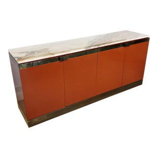 1970s Belgo Chrome Lacquered Wood Credenza With Marble Top Bronze Trim For Sale