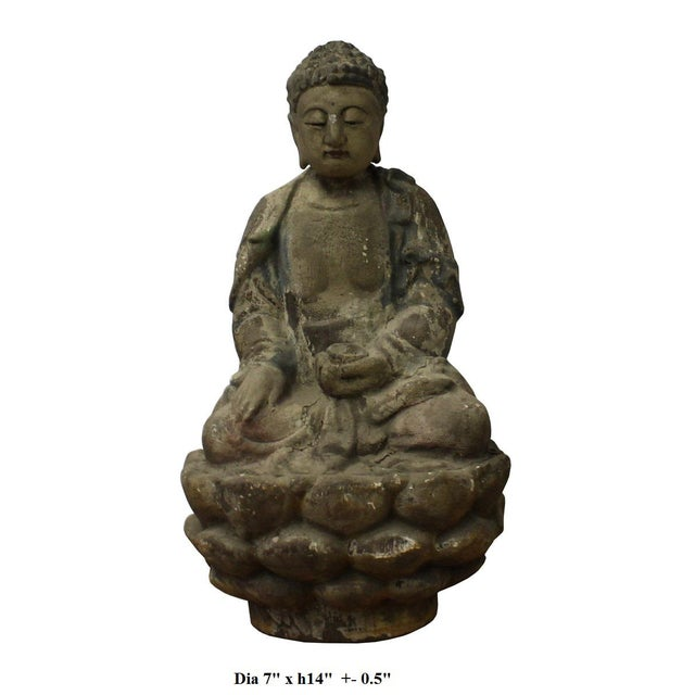 Chinese Rustic Wood Sitting Buddha Statue For Sale In San Francisco - Image 6 of 6
