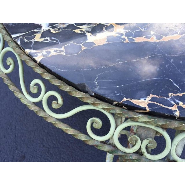 Gilbert Poillerat Painted Wrought Iron Marble-Top Coffee Table For Sale - Image 4 of 7