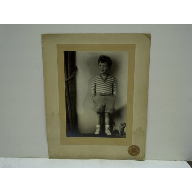 "This is a Vintage -- Black And White Photograph -- ""Little Boy Standing"" -- By Vincent Evans -- Circa 1930 -- The..."