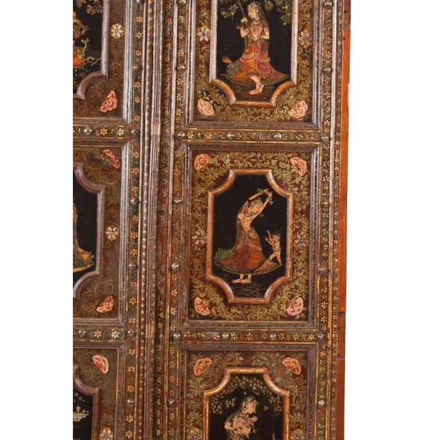 Metal 1830s Painted Indian Palace Doors - a Pair For Sale - Image 7 of 8
