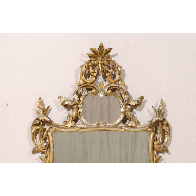 Early 20th Century Italian Gold and Silver Gilt Mirror For Sale - Image 4 of 11