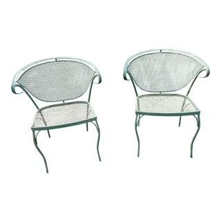 Mid Century Wrought Iron Woodard Style Patio Chairs a Pair