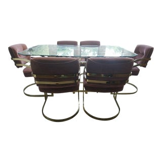 Milo Baughman Style Dining Table & Cantilever Chairs For Sale