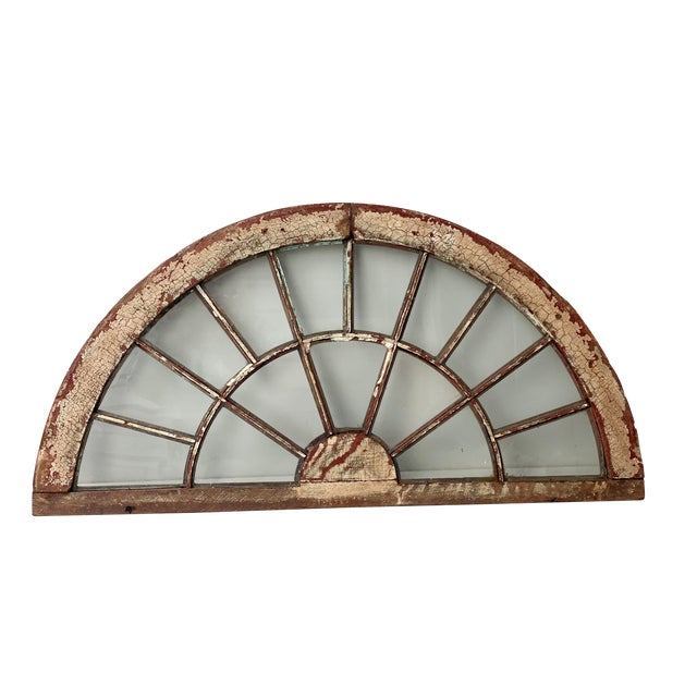 Rustic Half Round Distressed Wood Window For Sale
