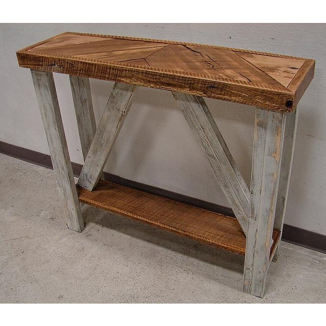 Country Repurposed Barn Wood White Washed Hall Entry Table For Sale - Image 3 of 3