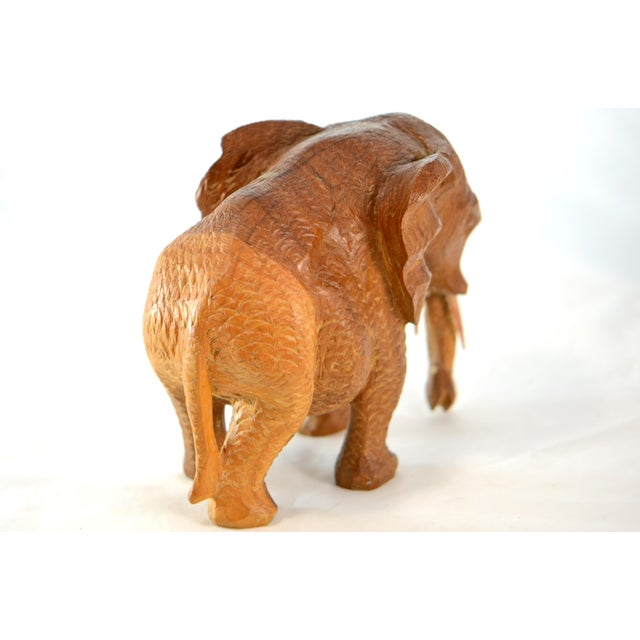 Mid 20th Century Hand Carved Wood Elephant For Sale - Image 5 of 9