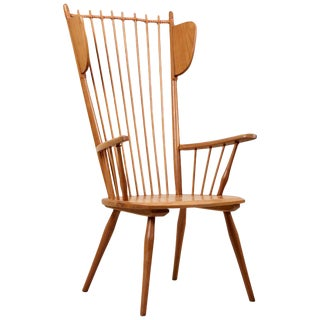 Albert Haberer Wingback Armchair in Solid Wood, Germany, 1950 For Sale