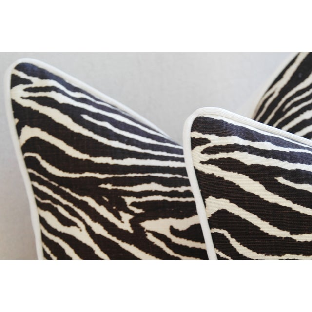 "White Custom Brunschwig & Fils Zebra Feather/Down Pillows 23"" Square - Pair For Sale - Image 8 of 13"