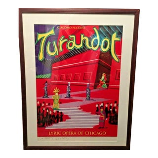 "1991 David Hockney Hand-Signed Framed Original Giacomo Puccini ""Turandot"" Lyric Opera of Chicago Art Poster For Sale"