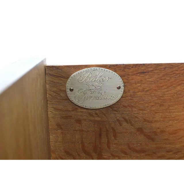 Lacquer Baker Modern Five Drawer High Chest Tambour Door Compartment Brass Hardware Pull For Sale - Image 7 of 7