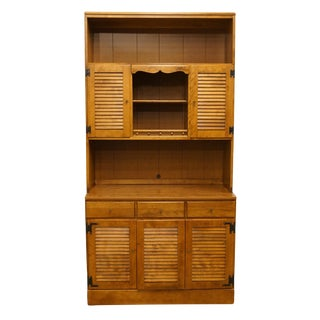 20th Century Early American Ethan Allen Heirloom Nutmeg Maple CRP Shutter Door Cabinet With Bookcase Hutch For Sale