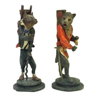 """Spelter Dog Candlesticks Stamped """"Paris 32""""- a Pair For Sale"""