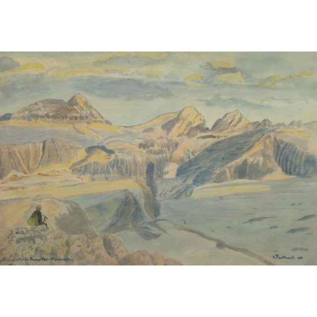 Vintage Italian Mountains Watercolor Painting,1956 - Image 1 of 4
