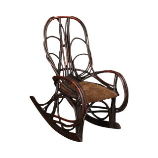 Antique Small Childs Size Bent Wood Twig Rocker For Sale
