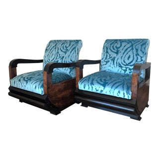 20th Mid Century Modern Pair of Turqueoise Velvet Club Chairs With Ebonized Details For Sale