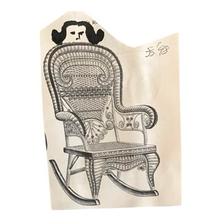 Modern Figure in a Victorian Wicker Rocking Chair Mixed Media Collage & Drawing, 1998 For Sale