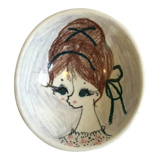1960s Vintage Hand-Painted Mod Girl Italian Footed Dish For Sale