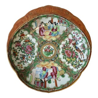 19th Century Chinese Rose Medallion Porcelain Shrimp Dish For Sale
