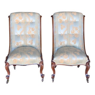 Antique English Rosewood Spoon Back Chairs - a Pair For Sale