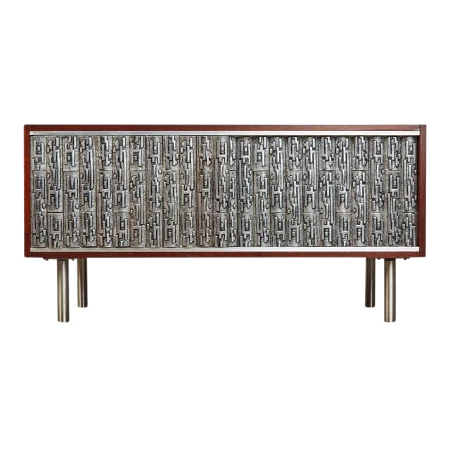 Brutalist Credenza With Custom Art Relief Pewter Doors - Image 1 of 7