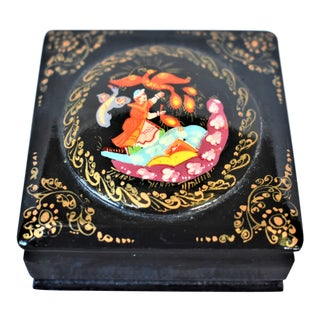 Vintage Russian Lacquer Box For Sale