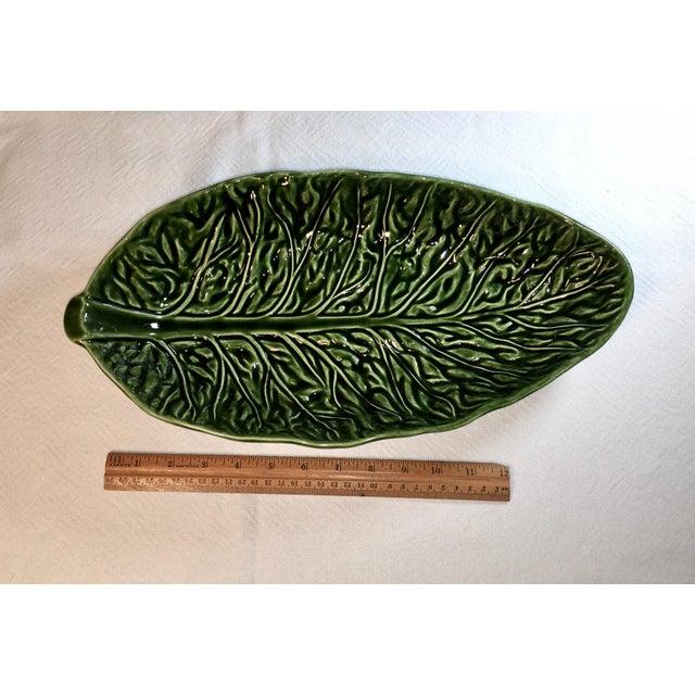 1980s Vintage Majolica Cabbage Leaf Serving Bowls - a Pair For Sale - Image 5 of 8