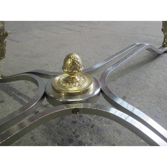 Polished Steel and Brass Coffee Table Manner of Maison Jansen - Image 5 of 9