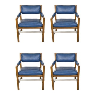 4 Blue Leather, Wood and Stainless Steel Ed Wormley for Dunbar Chairs For Sale