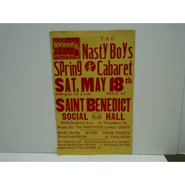 "This is a Concert Poster -- ""The Nasty Boys - Spring Cabaret"" -- Saint Benedict Social Hall -- Circa 1980"
