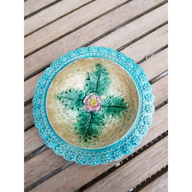 Two small French Majolica Dishes that make a wonderful pair. The aqua color matches. They may have been from the same...