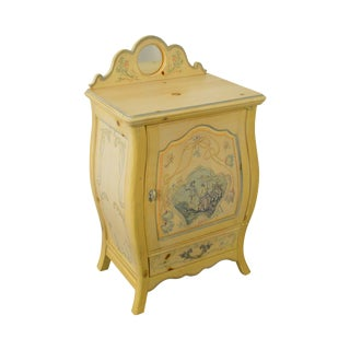 French Louis XV Style Small Bombe Paint Decorated Commode Cabinet W/ Drawer
