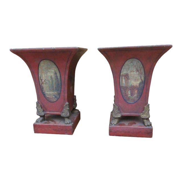 Mid 19th Century One Pair of English Tole Cachet Pot For Sale - Image 5 of 5