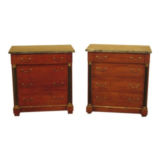 Italian Empire Marble Top Bachelor Chest Commodes - a Pair For Sale