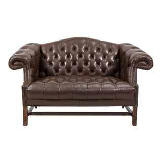 Chesterfield Style Leather Settee with Bronze Nailheads